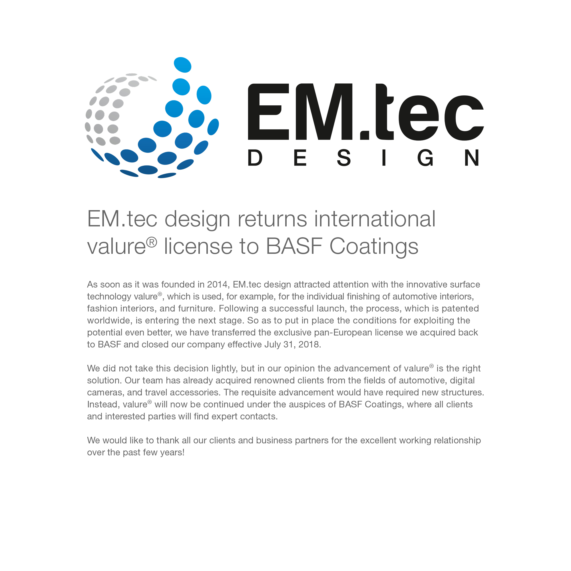 EM.tec design returns international valure® licence to BASF Coatings.